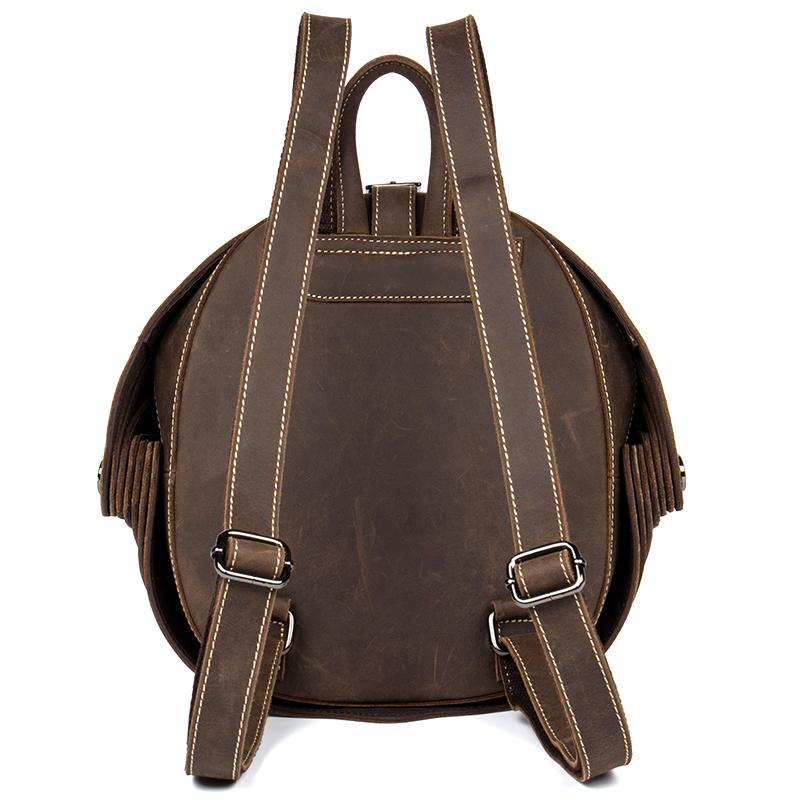 ยี่ห้อผู้ชาย Vintage Cowhide หนังกระเป๋าเป้สะพายหลัง Casual Flap กระเป๋าเป้สะพายหลังด้วง Retro กระเป๋าเดินทางวันหยุดสุดสัปดาห์ Handmade Rucksack-ใน กระเป๋าเป้ จาก สัมภาระและกระเป๋า บน   2