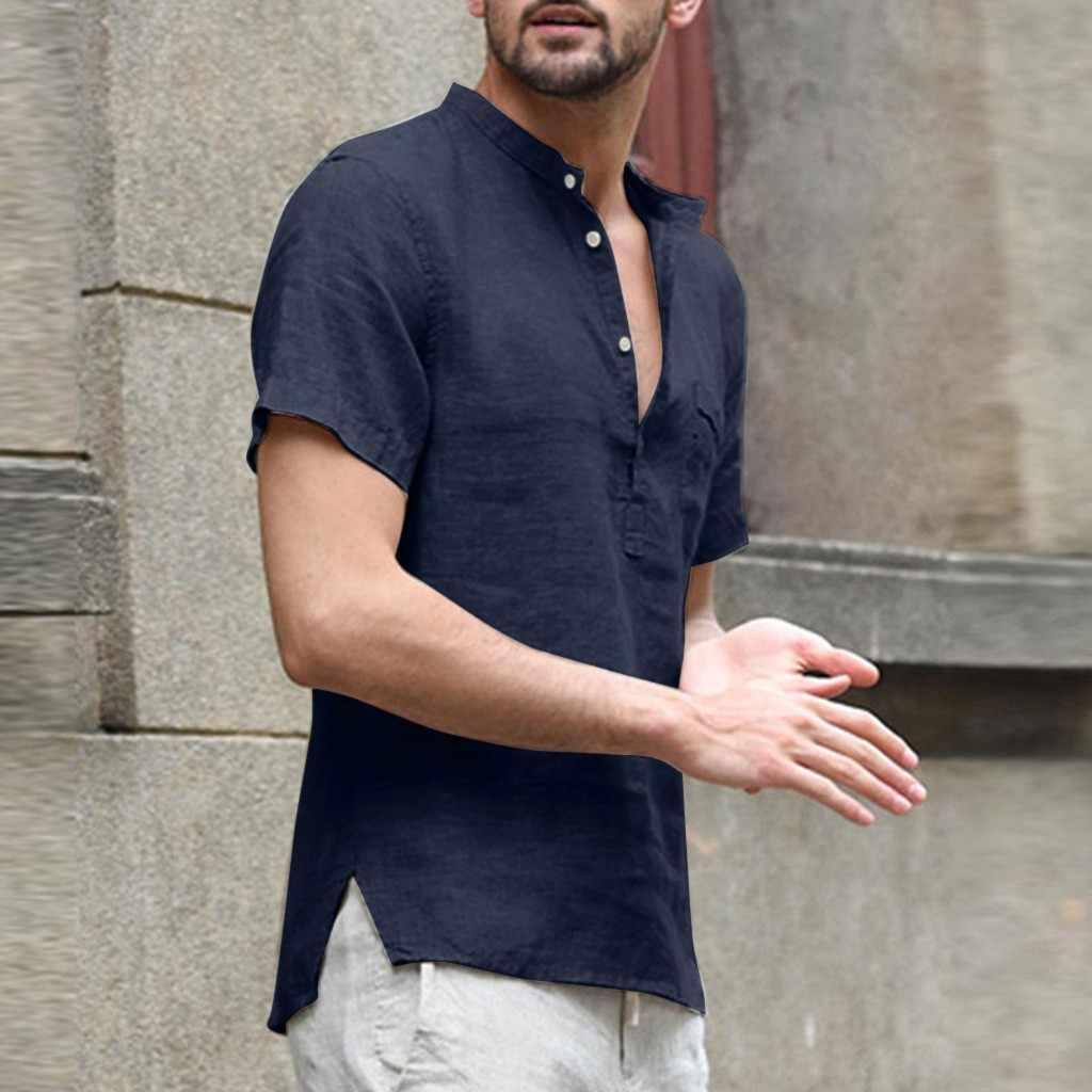 Ngắn Tay Áo Sơ Mi Nam Áo Sơ Mi Nam Camisa Quần Baggy Vải Lanh Cotton Chắc Chắn Nút Nam Áo Dạo Phố Camisa masculina