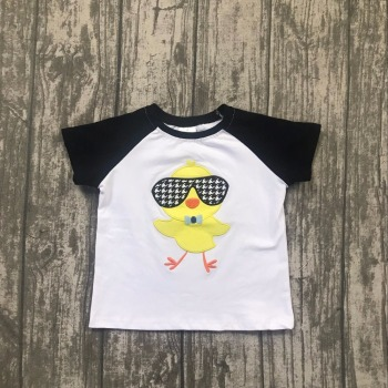 new Easter baby boy's black white chicks yellow dark sunglasses cotton boutique topT-shirt short sleeve childen clotes kid