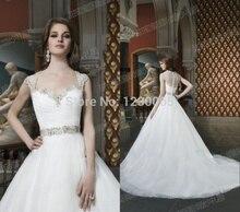 free shipping hot sexy long cap sleeve romantic Bridal Gown boda 2015 casamento vestido de noiva crystal beading wedding dress