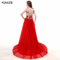 Red Evening Dresses Long 2018 A Line V Neck Cap Sleeves Sheer Back Floor Length Beaded Crystal Prom Dress Evening Gown