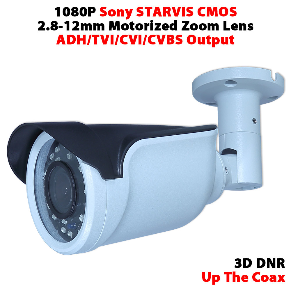 1080P sony IMX291 CMOS 2.8-12mm motorized zoom lens waterproof IR camera support UTC support AHD/TVI/CVI/CVBS