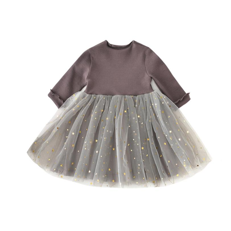 <font><b>Baby</b></font> <font><b>Girl</b></font> <font><b>Dress</b></font> Autumn Star Mesh Long Sleeve Newborn <font><b>Dresses</b></font> for <font><b>Girl</b></font> Infant <font><b>3</b></font> 5 <font><b>Years</b></font> Birthday Chirstening Kids Spring Clothes image