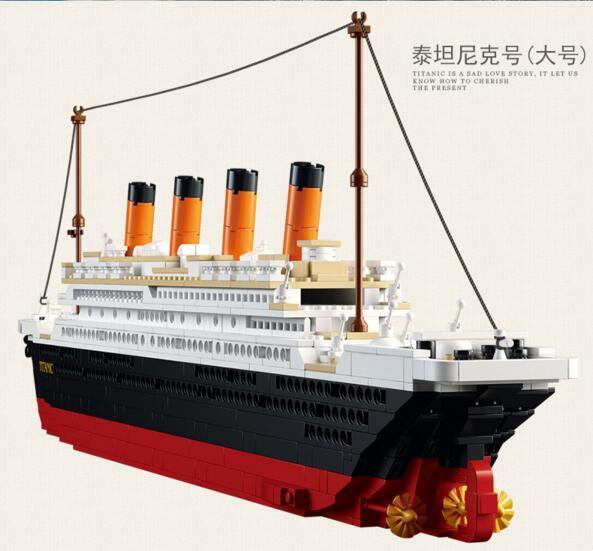 Building Block Set Compatible with lego city ship Titanic RMS Titanic 3D Construction Brick Educational Hobbies Toys for Kids