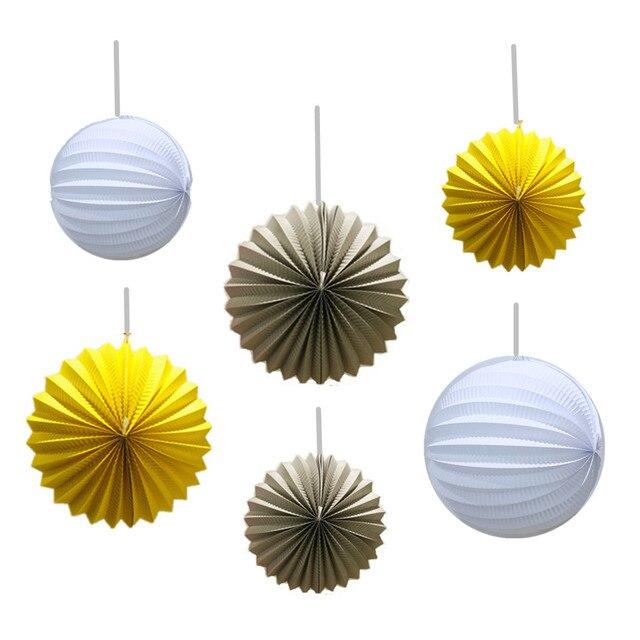 Delightful 6pcs Yellow,Grey,White Pleated Paper Lanterns Wedding Decors Hanging Accordion  Lanterns Bridal Shower Amazing Ideas