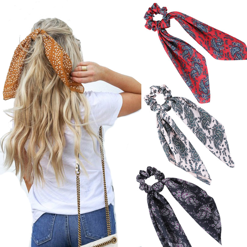 Floral Print Women Hair Bands Scarf Elastic Bohemian Hairband Bow Hair Rubber Ropes Girls Hair Ties Accessories