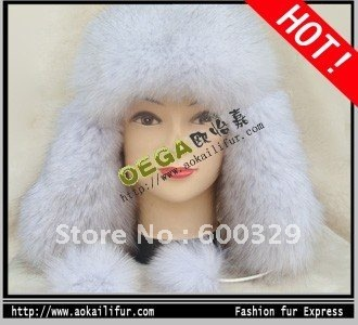 free shipping! Top quality genuine full blue fox fur cap/hat, women's winter hat/cap, 3 colors . Wholesale price