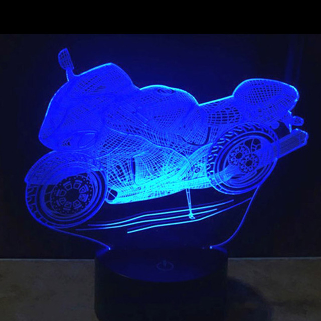 1Piece 3D Design Motorcycle Shape Night Light Home Decoration Novelty Lighting Color-Changing Atmosphere Lamp With USB Charger