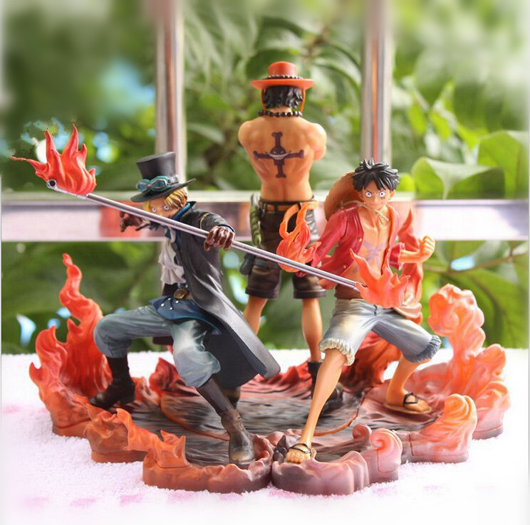 One Piece Anime Figure Luffy Ace Sabo Collectible Action Figure PVC Japan Cartoon Figurine One Piece