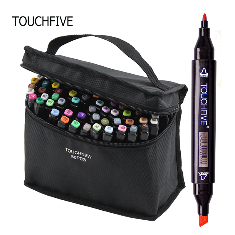 TOUCHFIVE Markers 80 Color Design Marker Pens Painting Pen Dual Tip Marker Alcoholic Sketch Pens Drawing
