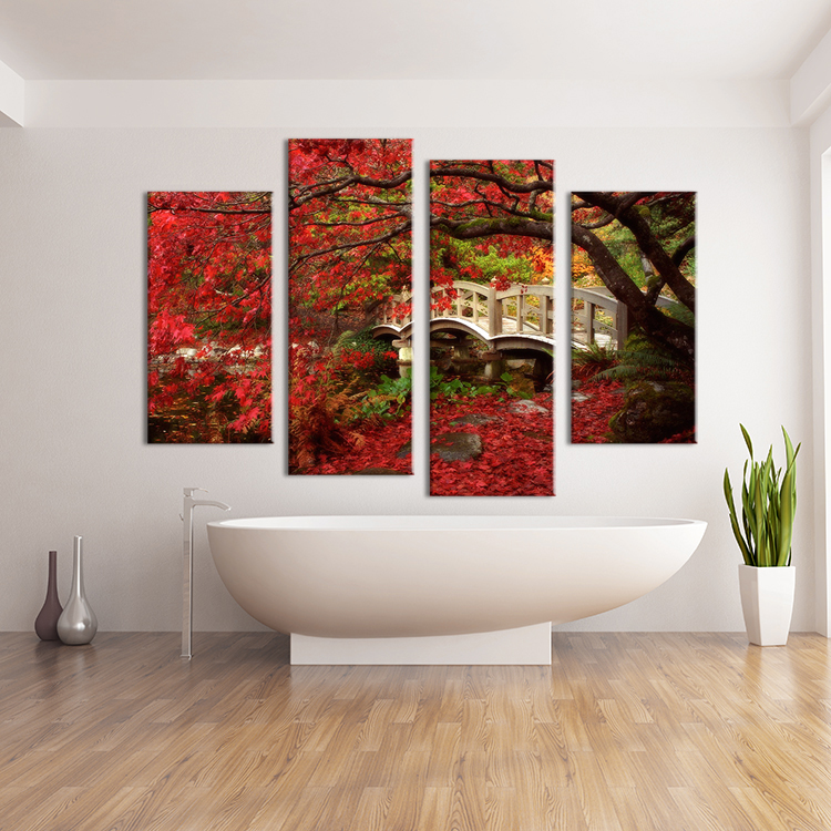 4pcs red tree leaf on the land wall painting print on for Canvas decorations for home