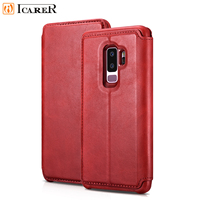 ICARER Luxury Real Leather Flip Cover Detachable 2 in 1 Folio Case Stand Holder for Samsung Galaxy S9 S9Plus Wallet Phone Case