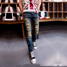 2015 Autumn New Arrival Vintage Retro Style Fashion Jeans Men Plus Size  Denim Cotton Slim Fit Jeans For Men 28 30 32 34 36
