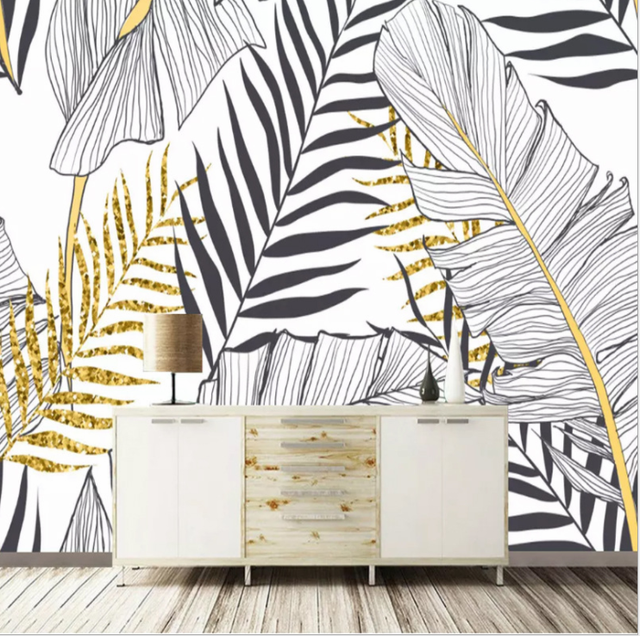 Nordic plant banana leaf wallpaper mural living room bedroom TV background  wall tropical rain forest wallpaper wall covering e1f9007e8e27