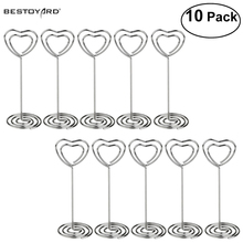 10Pcs/set Place Card Holder Heart Shape Clips Wedding Favors Place Card Holder Table Photo Memo Number Name Clips