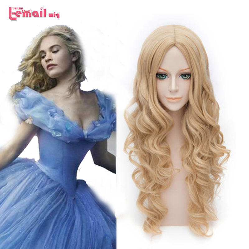 L-email wig 2016 New Movie Princess Cinderella Wig For Adult Long Wavy Curly Blonde Anime Synthetic Hair Cosplay Wigs