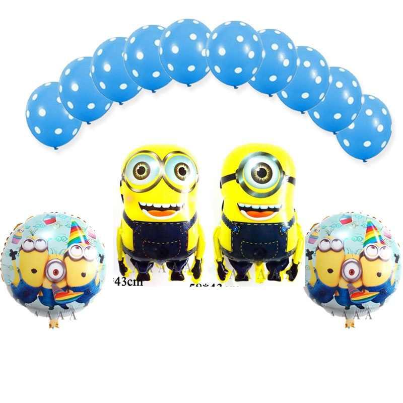 13 pcs mista jogo dos desenhos animados dos desenhos animados minions balão balões de látex e balões de aniversário 18 polegada rodada asseclas balões folha