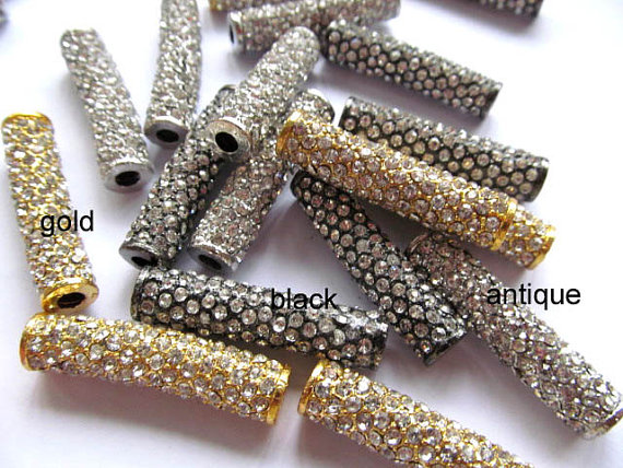 high quality pave tube spacer bar column tubalar silver gold rose gold black assortment with czech crystal jewelry 10x38mm 50pcs цена