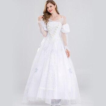 送料無料アリスでワンダーランド白女王コスプレ姫ドレスオリジナルネットホワイトロングドレスハロウィン衣装ドレス