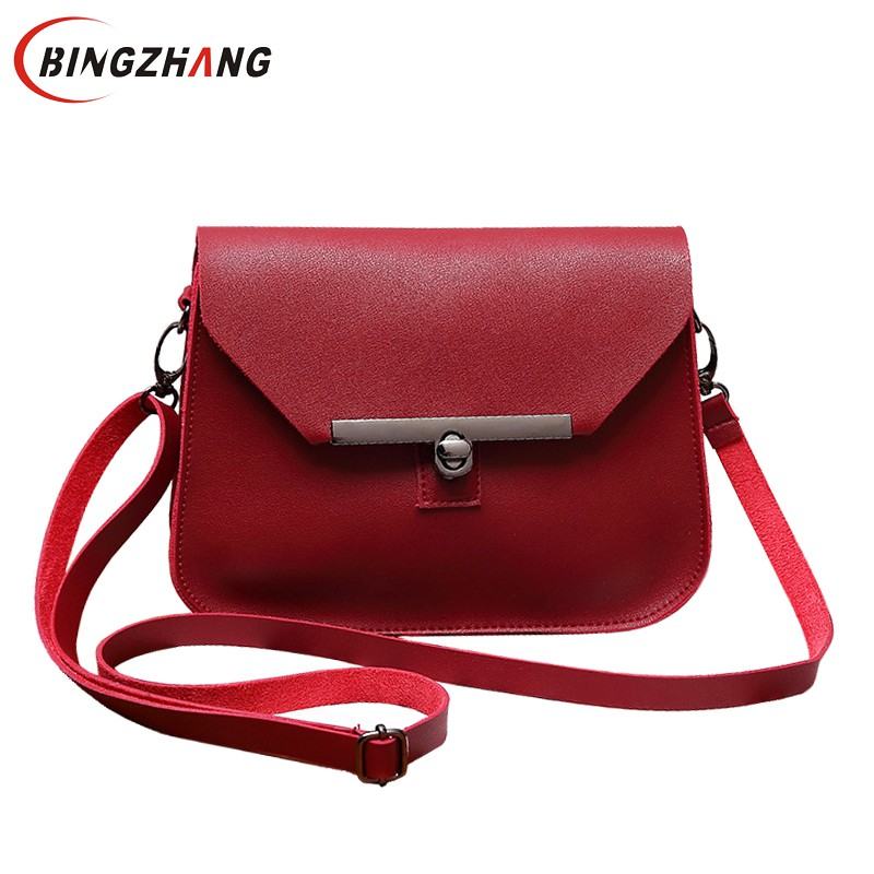 Small Women Messenger Bag Simple Designer PU Leather Crossbody Bag Ladies Hasp Lock Flap Female Bags Bolsas Femininas L4-2986