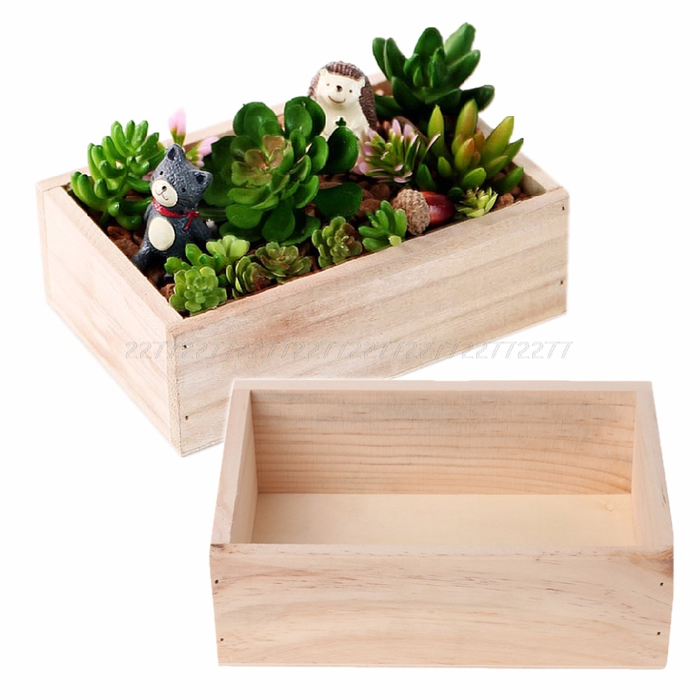 Wooden Succulent Plants Potted Flowers Holder Desktop Organizer Case Storage Box