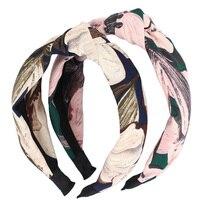 Magnolia de corea Floral Impresión Top Knot Diadema Accesorios Para el Cabello Al Por Mayor para las mujeres y Las Adolescentes