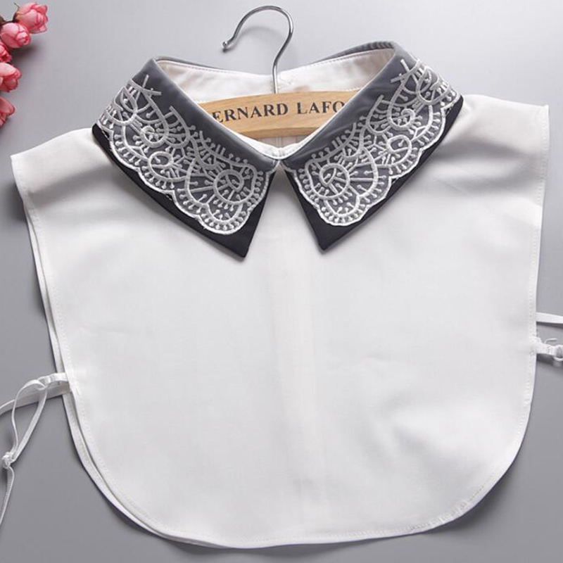 Faux Cols Embroidery Women Fake Collar Bluz False Collar Choker Necklace Women Clothes Attachable Ties Accessory Peto Mujer