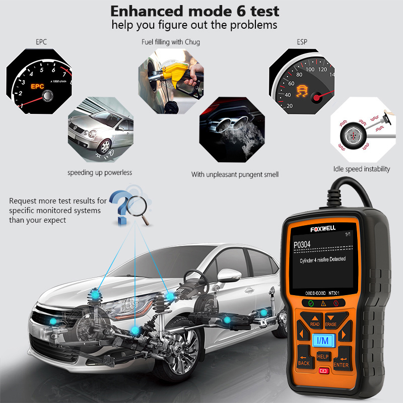 Image 2 - FOXWELL NT301 OBD2 Scanner Professional EOBD OBDII Code Reader Engine Check ODB2 OBD 2 Automotive Scanner Car Diagnostic Tool-in Code Readers & Scan Tools from Automobiles & Motorcycles