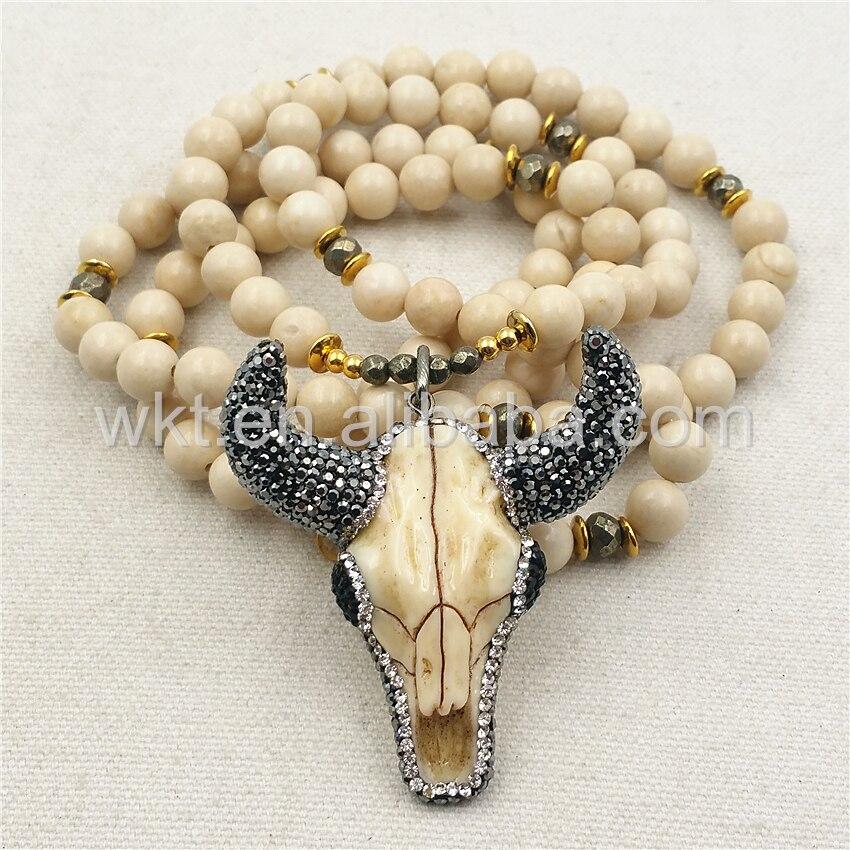 WT N859 All Match Fashion 8mm Cream stone Beads Buffalo Head Necklace 32 Beads Resin Buffalo