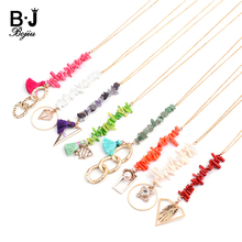 BOJIU Natural Stone Coral Long Pendant Necklaces For Women Green Red White Chips Gold Copper Link Chain Necklace Femme NKS212
