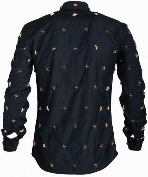 2015 Men\'s Euro American Fashion Metal Stars Rivets Long Sleeve Dress Shirt Casual Black Cool Party Masculinas Camiseta Quality  (1).jpg