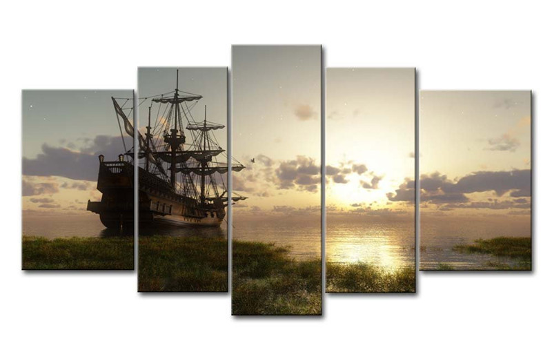 5 Panel Wall Art Painting Fantasy Ship Sail Boat In Lake Sunset Prints On  Canvas Oil For Home Modern Decoration Print Painting In Painting U0026  Calligraphy ...