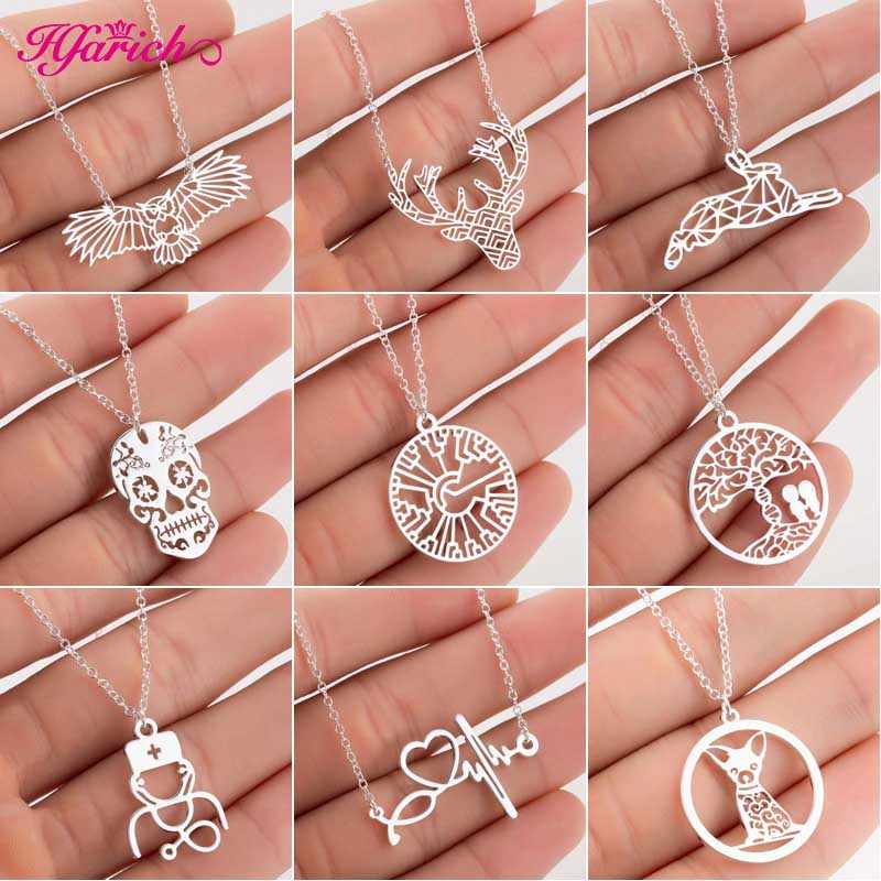 Hfarich 2019 Stainless Steel Origami Animal Necklaces for Women Cute Skull Deer Rabbit Charms Necklace Jewelry Doctor Gifts