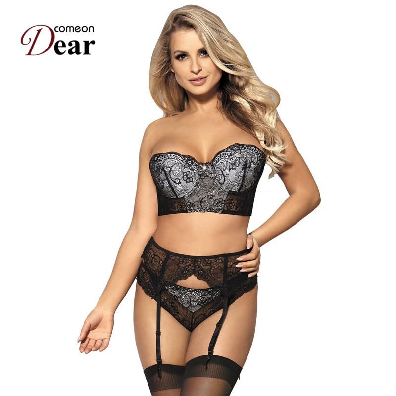 Comeondear 3 Piece Black Delicate Lace Bra Garter Set Plus Size Suspenders Lace Bra Garter Set Panties Women's Underwear RJ80457