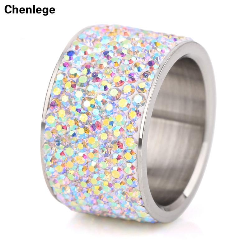 8 행 멀티 패션 여성 스테인레스 스틸 크리스탈 결혼 반지 고품질 AB + CZ 돌 파티 라인 석 반지