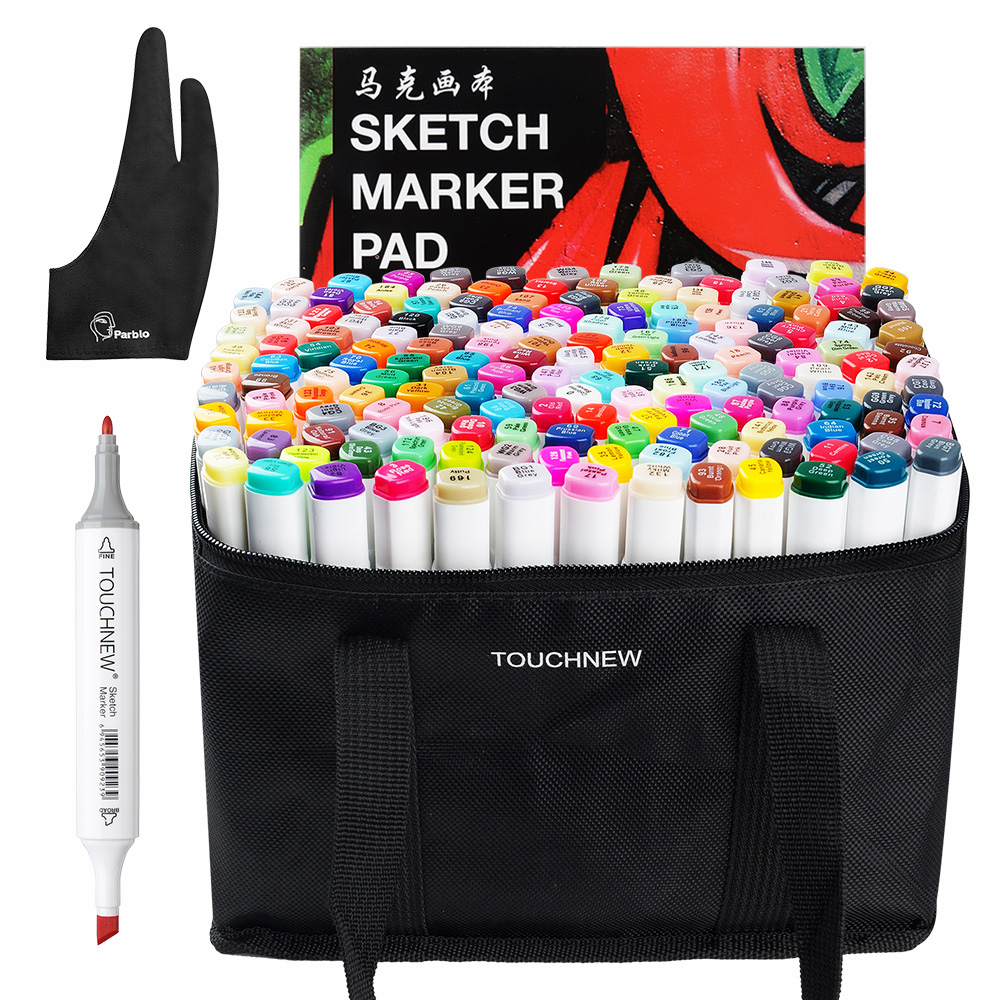 TOUCHNEW 168 Colors Set Marker Pen Artist Painting Manga Dual Head Alcohol Markers + A4 Drawing Book +Two-finger Glove guin saga manga book two