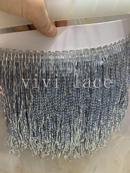 cou0014-2# 5yards/bag 15 cm smoke grey mine silver beads ribbon fringe tassel for decorative/wedding bridal ball gown dress