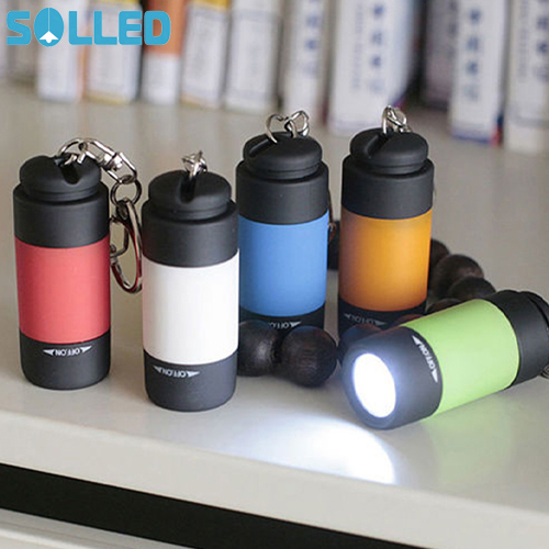 SOLLED Portable Mini Keychain USB Rechargeable Pocket Torch Flashlight Light Lamp IP67 Waterproof Multicolor Flashlight