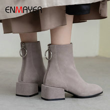 ENMAYER 2019 Women Boots Kid Suede Round Toe Winter Zip Square Heel New Ankle Luxury Shoes Size 34-39