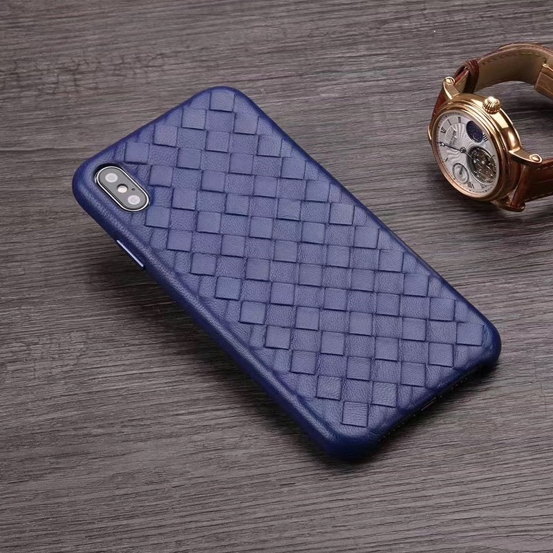 Image 4 - Fashion Woven Pattern Genuine Leather Case For iPhone XS MAX/ XS/ X/ XR Original Phone Cover For iPhone 11 Pro XS MAX Back CaseFitted Cases   -