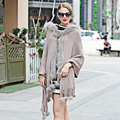 2016 Genuine fox fur poncho Scarf woman Cream-colored  Hoodies Jacket Warm blankets Capes stole shawl Ponchos and Capes