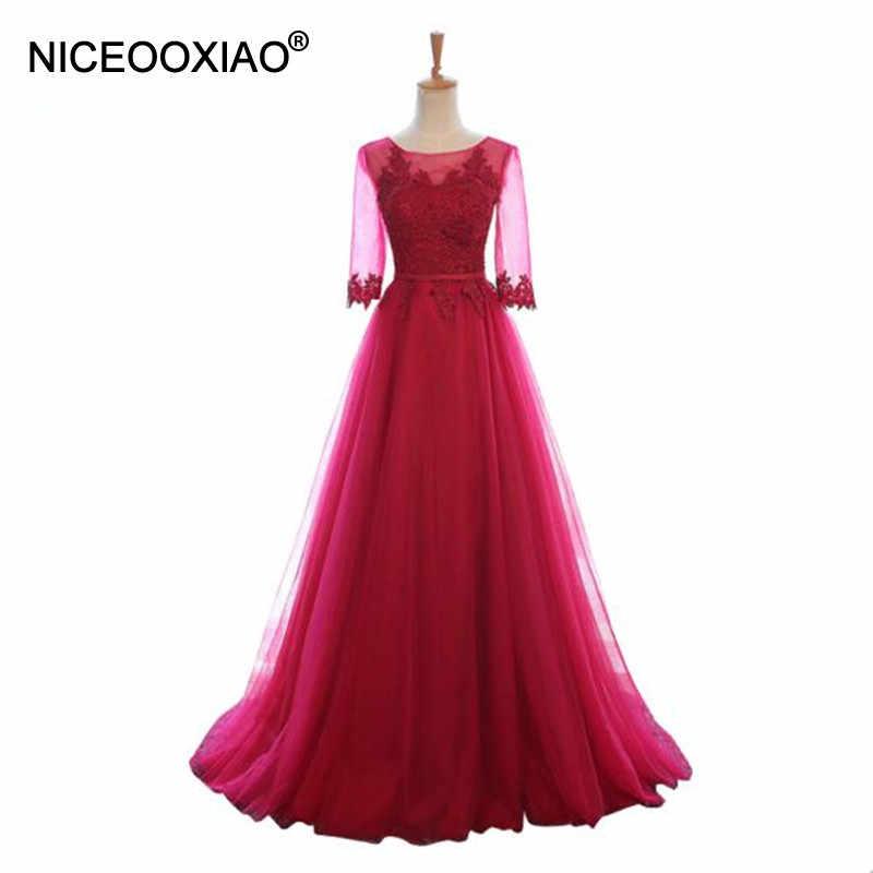 b3fe7c25792 NICEOOXIAO цвет красного вина Кружева Sexy спинки Длинные вечерние платья  Для женщин Элегантный Половина рукава длиной