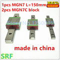 1pcs 7mm width  Mini linear guide rail MGN7 L=150mm  +2pcs MGN7C Block Carriage Miniature linear guide way