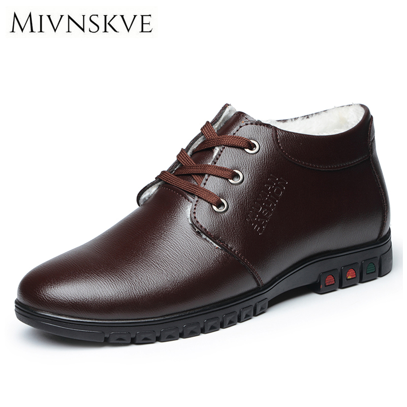 MIVNSKVE High Quality Leather Men's Casual Shoes Black Brown Men Flats With Fur Plush Winter Warm Footwear Flat Trendy Men Shoes top brand high quality genuine leather casual men shoes cow suede comfortable loafers soft breathable shoes men flats warm