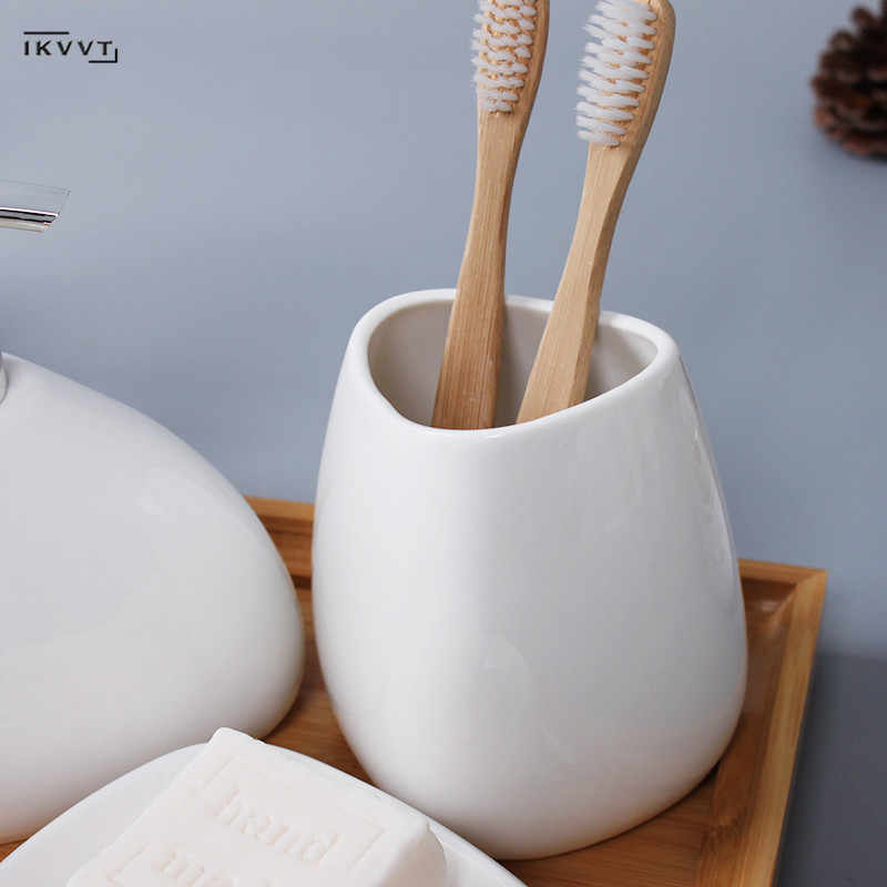 Ceramika zestaw akcesoriów łazienkowych dozownik do mydła/uchwyt na szczoteczki do zębów/suszarka/mydelniczka wacik aromaterapia łazienka produkty