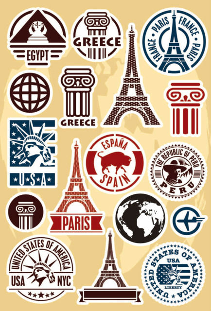 famous scenic spot vintage sticker for car trolley luggage travel