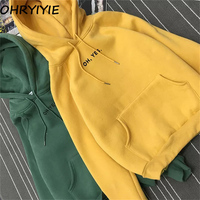 Autumn Winter Harajuku Fleece Hoodies Women Bts Letter Print Sweatshirt 2018 New Long Sleeve Pullover Female