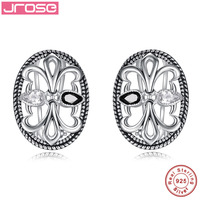 Jrose Vintage Jewelry Black Spinel White CZ 100 925 Sterling Silver Earrings Brand Quality Mask Clip