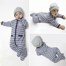 100% Cotton Baby Footies Long Sleeve Undershirts for Newborn Infant Cartoon Jumpsuits Striped Kids Clothes Boys Girls
