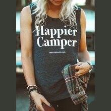 Summer Comfort Happier Letter Print Tank Top Women Sleeveless Top Loose Singlet Simple Grey Vest USA Star Clothing debardeur fem